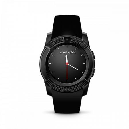 Bass V8 Smart Watch Black - Funcție sport, slot pentru Sim, Cameră foto, Android și telefoane iOS.