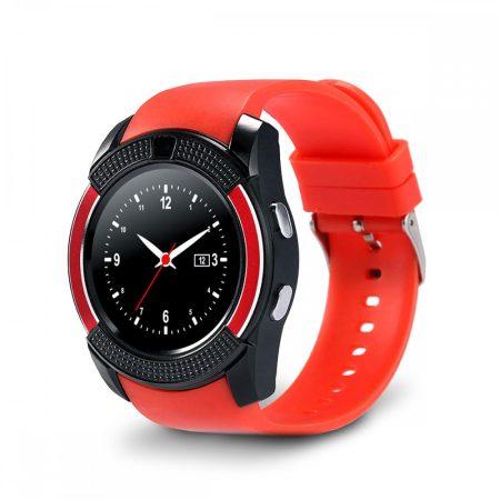 Ceas inteligent Bass V8 roșu - caracteristică sport, priză SIM, aparat de fotografiat, telefoane Android și iOS.
