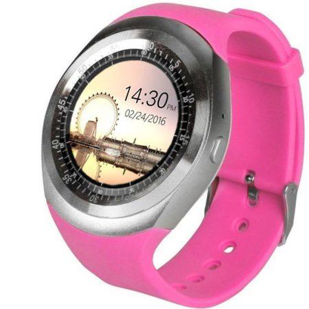 AlphaOne Y1 Smart ceas roz - ecran tactil, notificări, apeluri, pedometru