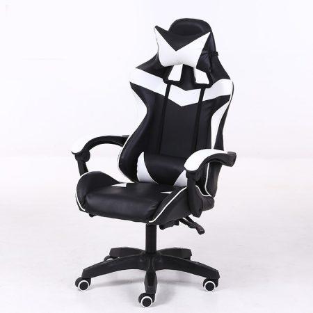 RACING PRO X Scaun gamer, alb-negru -petreci mult timp pe net ?gata cu durerile de spate