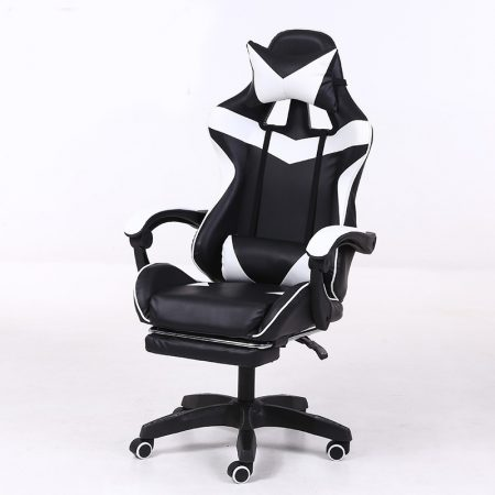 Scaun RACING PRO X cu suport pentru picioare- alb-negru ️