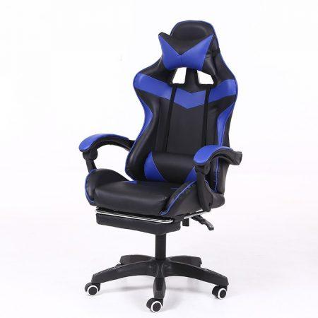RACING PRO X Scaun gamer cu suport pentru picioare, albastru-negru Transport gratuit-petreci mult timp pe net ?gata cu durerile de spate