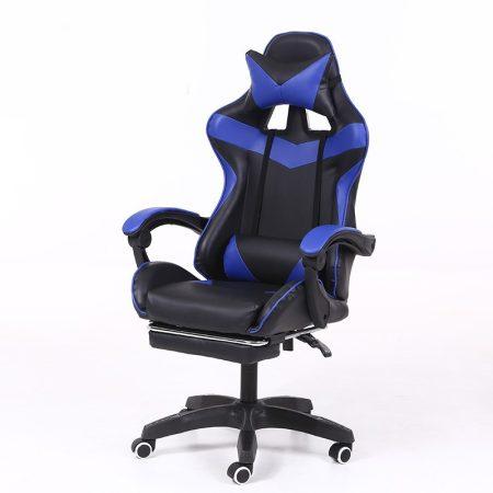 Scaun RACING PRO X cu suport pentru picioare-albastru-negru
