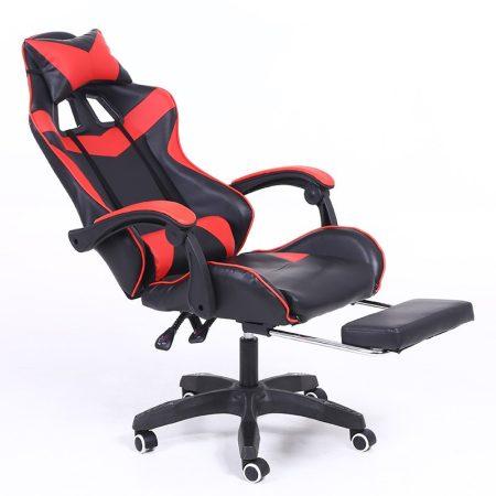 Scaun RACING PRO X cu suport pentru picioare-roșu-negru