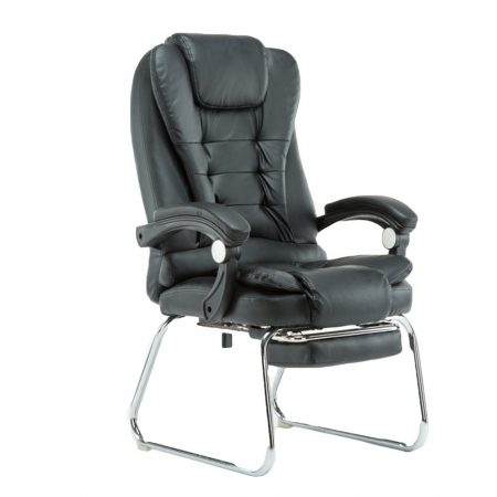 Scaun de masaj cu suport pentru picioare, negru