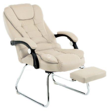 Scaun de masaj cu suport pentru picioare, bej-Ești obosit după serviciu și ai nevoie de relaxare?