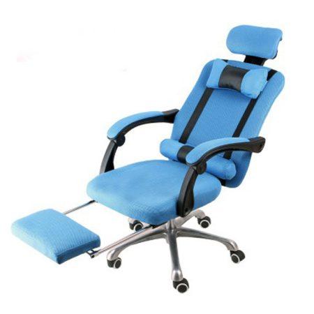 Scaun rotativ prezidențial cu suport pentru picioare  albastru-Transport gratuit - Confort și confort, design ergonomic!
