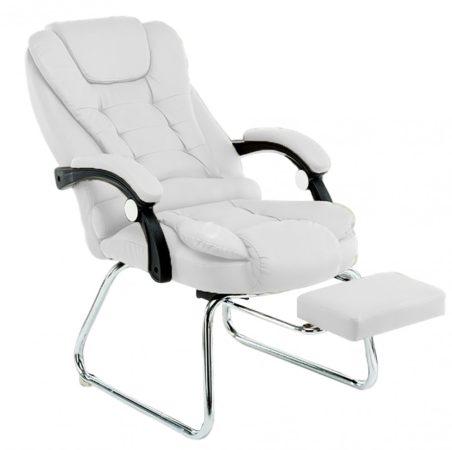 Scaun de masaj cu suport pentru picioare, alb-Ești obosit după serviciu și ai nevoie de relaxare?