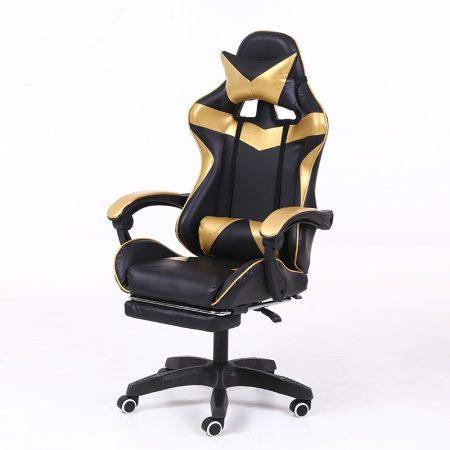 Racing pro x scaun gamer cu suport pentru picioare, negru auriu-Sunteți online? Gata cu durerile de spate .