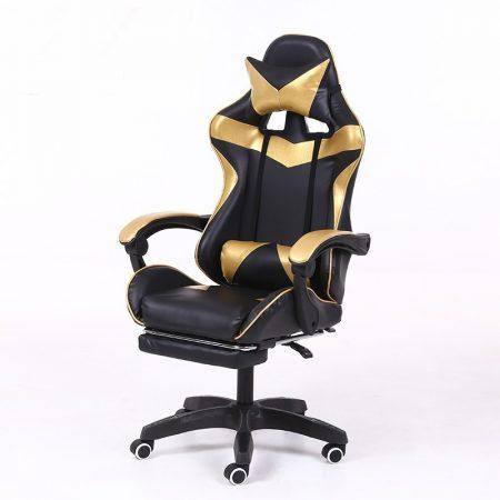 Scaun RACING PRO X cu suport pentru picioare-negru-auriu