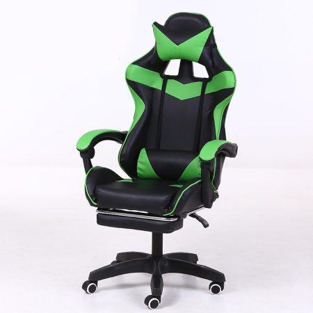Scaun RACING PRO X cu suport pentru picioare- verde-negru