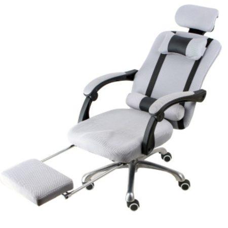 Scaun rotativ prezidențial cu suport pentru picioare Livrare gratuită, gri-Confort și confort, design ergonomic!