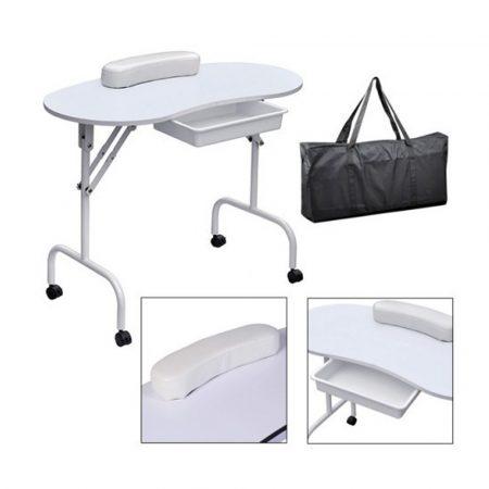 Masă de manichiură portabilă - culoare albă