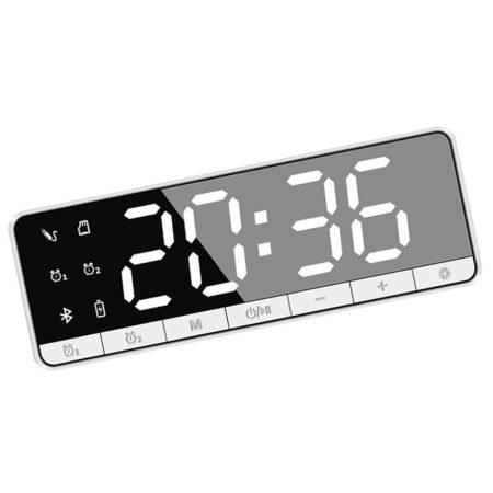 Ceas cu alarmă digitală Bluetooth- alb
