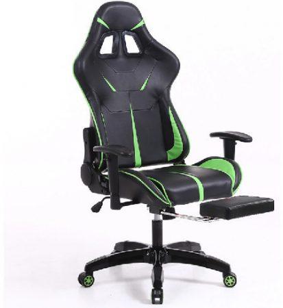 Scaun Gamer Sintact cu suport pentru picioare verde-negru- A Sosit! Ultimul design, suprafață chiar mai confortabilă!