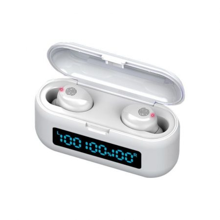 Căști Bluetooth TWS F9 cu powerbank -alb