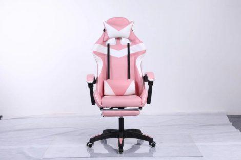 Scaun RACING PRO X Gamer cu suport pentru picioare -alb-roz